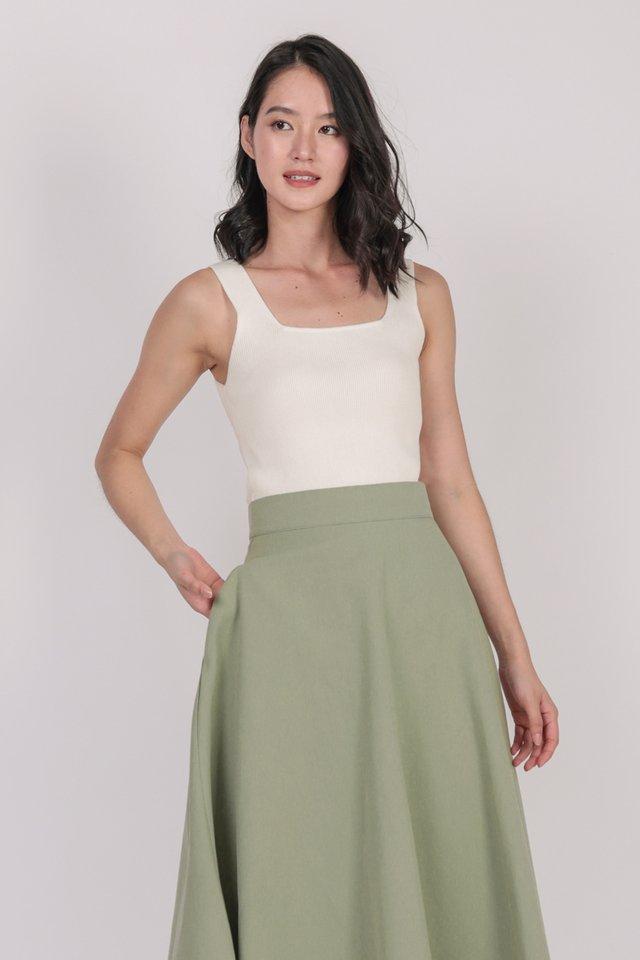 Chance Midi Skirt (Moss Green)