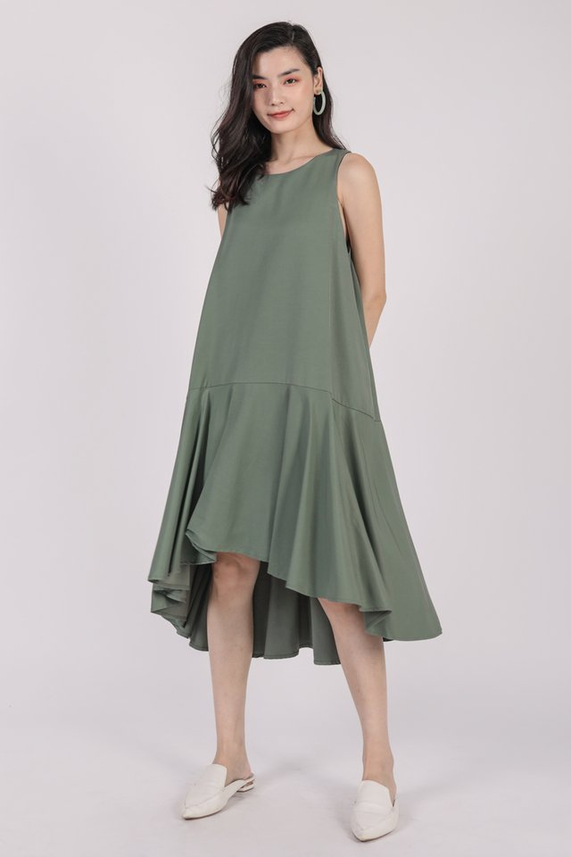 Iva Fishtail Dress (Sage Green)