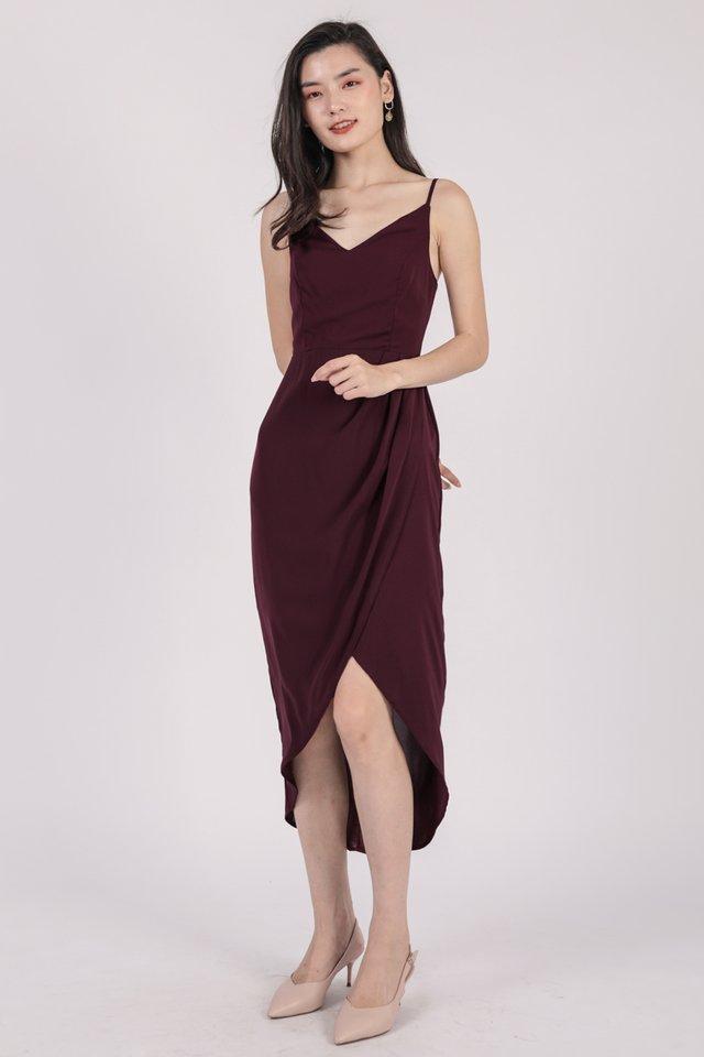 Jessie Wrap Front Dress (Plum)