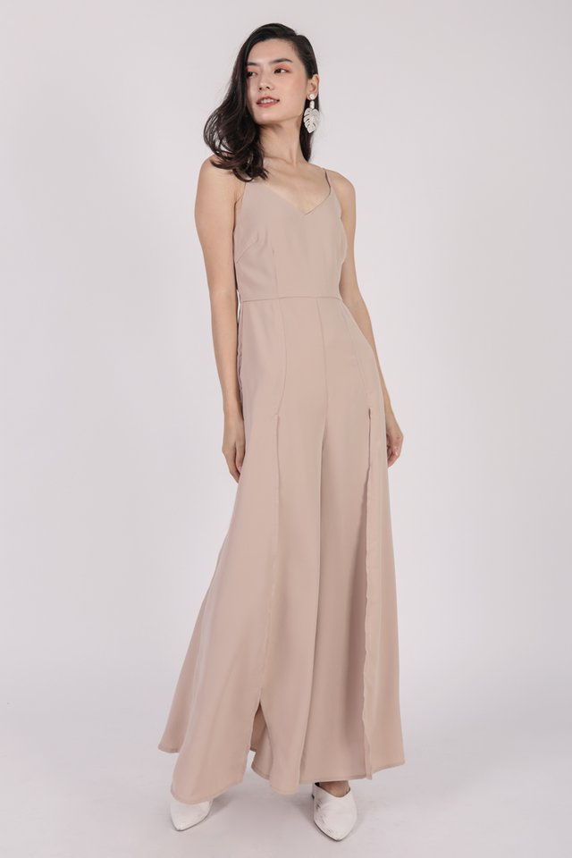 Lynda Split Pants Jumpsuit (Nude)