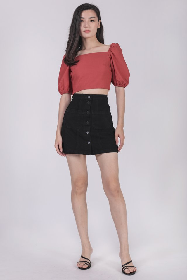 Majorelle Puffy Sleeve Top (Red)