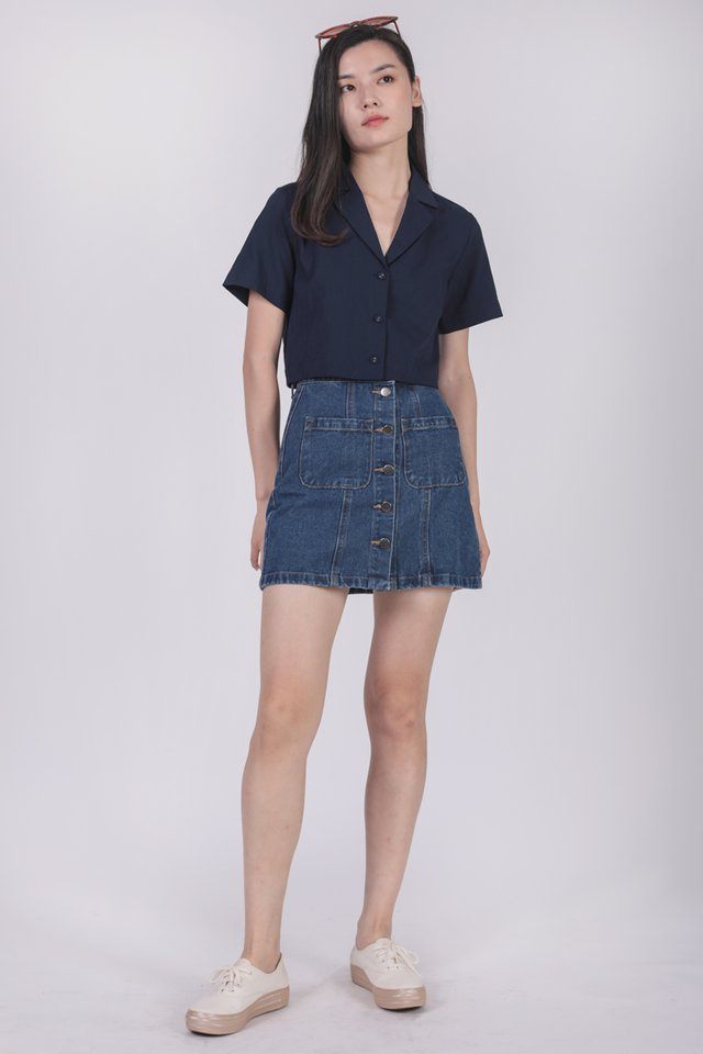 Parco Collared Top (Navy)