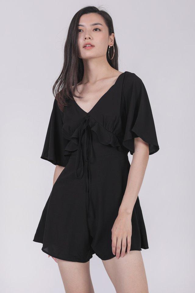 Rosie Sleeved Romper (Black)