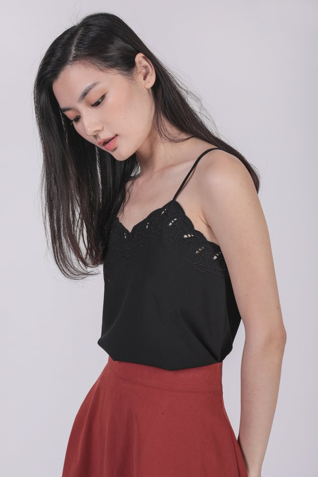 Seth Embroidery Spag Top (Black)