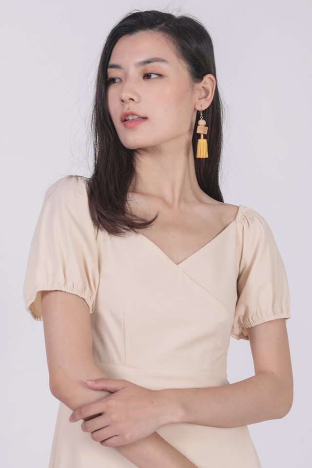 Trisha Puffy Sleeve Dress (Cream)