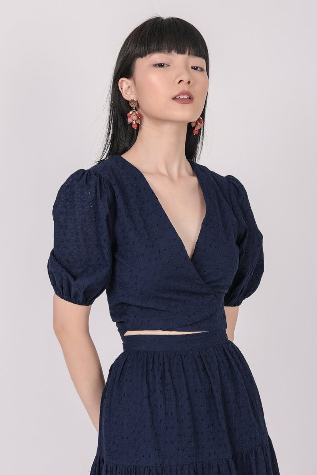 Anna Wrap Front Top (Navy Eyelet)