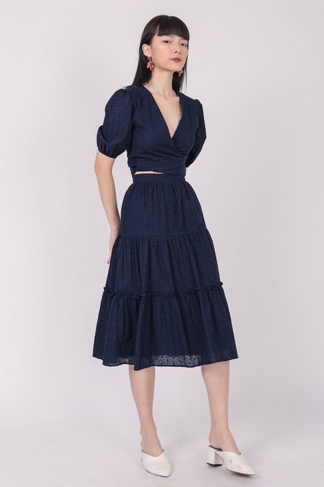 Beverly Tiered Skirt (Navy Eyelet)