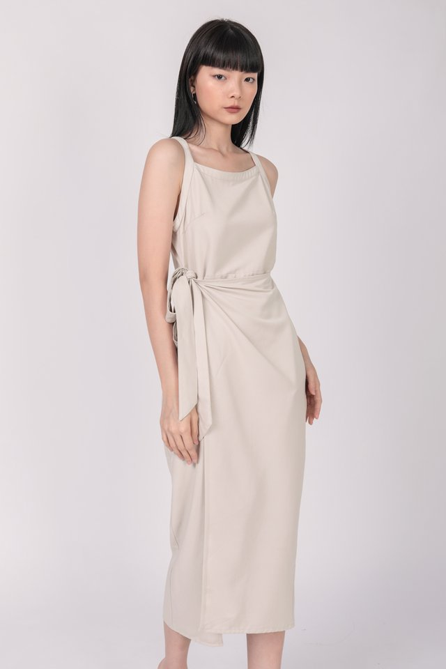 Finley Wrap Dress (Beige)