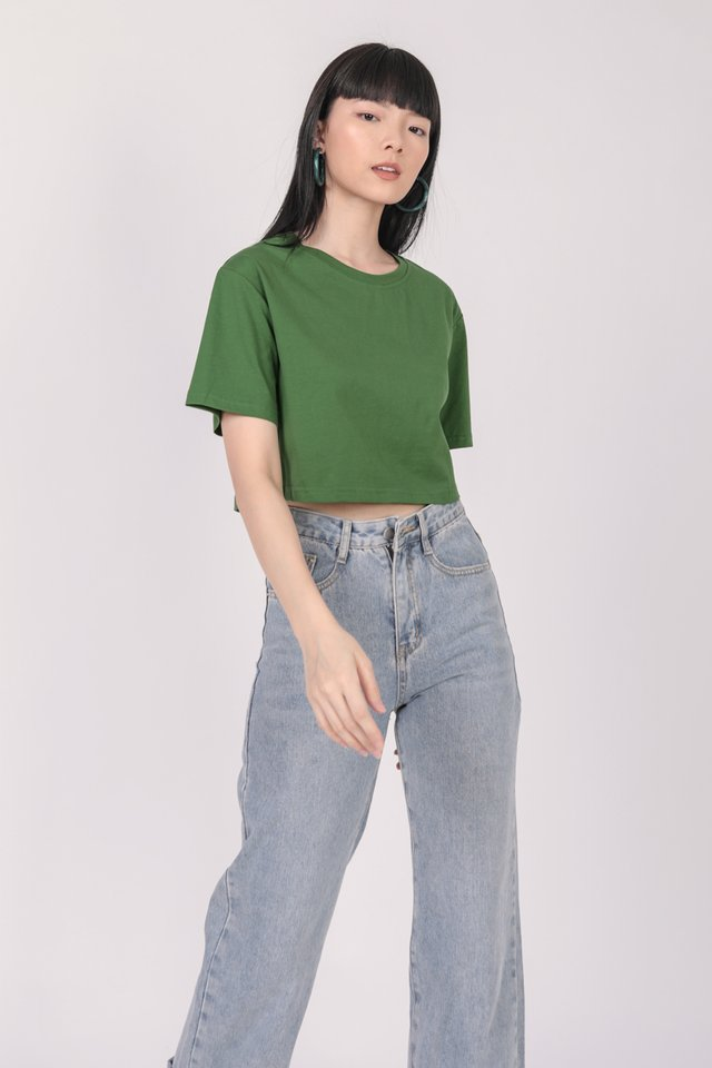 Meg Cropped Tee (Pine Green)