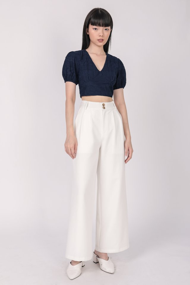 Perci Cropped Top (Navy Embroidery)