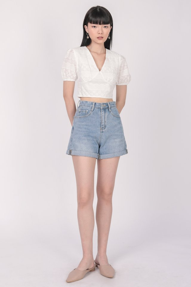 Perci Cropped Top (White Embroidery)
